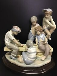 Lladro 7084 Boys Playing Cards, A Very Nice Size Piece. 13 High