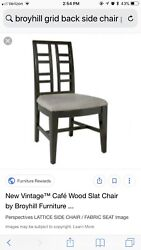 Lot Of 6 Broyhill Side Chair Black Wood Grey Cushion For Dining Room / Kitchen