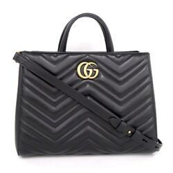 Gucci 2way shoulder bag quilting GG Marmont leather black 448054 (27432
