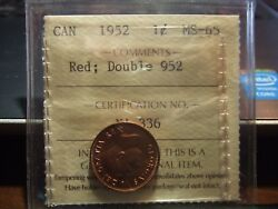 Canada One 1 Cent 1952 Certified Double 952 Iccs Ms-65 Full Red