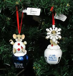 Nwt Set Of 2 Charming Tails Mice Christmas Jingle Bell Ornaments 4 H 131637