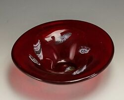 Ruby Red Murano Art Glass Bowl Accented With Contrasting Pennelate Designs