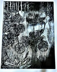 Warrington Colescott Rare Drypoint Soft-ground Etching Pencil Signed Cyclists