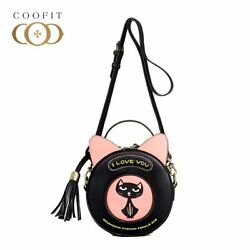 RARE  Cut Cat Pattern Crossbody Bags For Baby Girls Womens Small Round Shaped