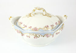 J. Pouyat Limoges Scalloped Covered Vegetable Bowl Gilt And Grey Blue Floral