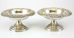 Pair Of S.kirk And Son, Inc. Sterling Silver Compotes, C.1930 Hand Chased 9toz
