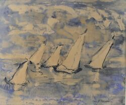 Alice Righter Edmiston American, 1874 - 1964 Watercolor Painting Sailboats