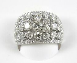 Round Diamond Cluster Dome Cigar Lady's Ring Band 14k White Gold 5.03Ct