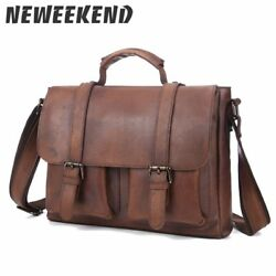 Men's Vintage Small GENUINE Leather Handbag Crossbody Shoulder Bag Business