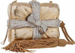 Judith Leiber Gift Box Wrapped Bow Gold Minaudiere Evening Bag Clutch Vintage
