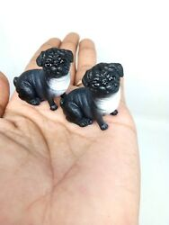 2 French Bulldog Puppy Dog Figurine Black Statue Decor Resin Art work