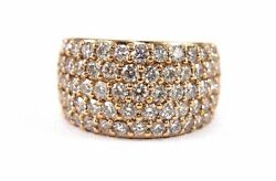 Round Diamond Wide 5 Row Cluster Dome Ring Band 14k Rose Gold 3.36Ct