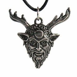 Wiccan Horned God Cernunnos Pendant 1.25 New Pewter Amulet W/ Cord - Us Made