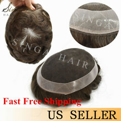 French Lace Mens Toupee Natural Human Hair System Replacement For Men All Colors
