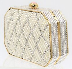 Judith Leiber Silver Pearl Gold Evening Bag Clutch Crystal Minaudeire White