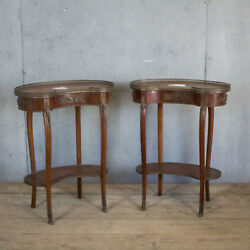 Lovely Pair X2 French Antique Side Tables With Bronze  Bedside