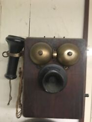 Antique Vintage Wall Telephone Rotary Dial Wooden Hand Crank
