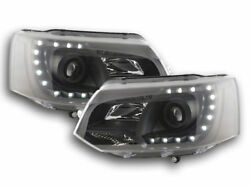 BLACK HEADLIGHTS HEADLAMPS WITH DRL DAY RUNNING LIGHTS FOR VW T5 MULTIVAN 2009-