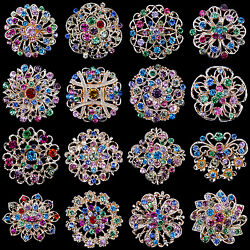 Lot 16 pc Mixed Vintage Style Golden Rhinestone Crystal Brooch Pin DIY Bouquet $12.99