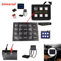12V24V 6 Gang LED Touch Screen Panel Slim Switch Controls Car Truck Marine Kits