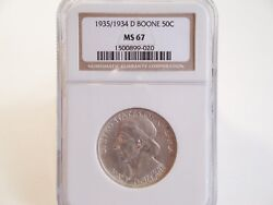 1935/1934-d Boone Commemorative Half Dollar Ngc Ms67 Bright White And Lustrous