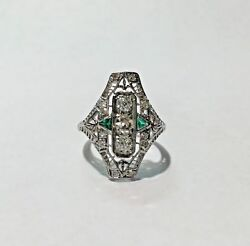 Antique Art Deco Diamond And Green Emerald Filigree Hand Engraved Ring Size 6 1/2