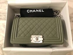 NWT RARE AUTH CHANEL BOY BAG Grey Green Quilted Caviar Leather Silver Chain Bag