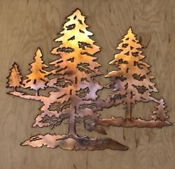 Pine Tree Forest Scene Wall Metal Art with Rustic Copper Finish Hanging