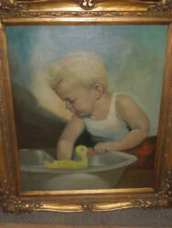 1950's , Cute Painting Of Boy Tommy, At Bathtime With Duck, 24 X 20
