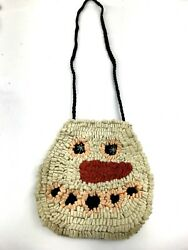 Rug Hooked Wool Snowman Purse Primitive Design