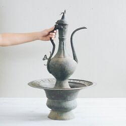 Antique Engraved Copper Brazier Wash Basin And Pitcher Set Middle Eastern