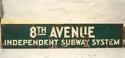 Vntg New York City 8th Ave Subway Sign Station Entrance Iss Ind Green Enamel