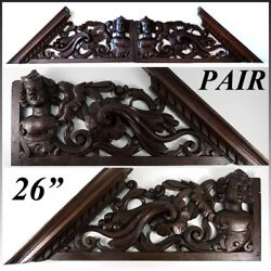 Antique Victorian Carved 26.5 Furniture, Architectural Crown Pair, 53 Figural