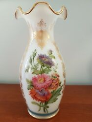 Antique Baccarat French Opaline Glass Vase 9 Tall 19th Century Hand Painted