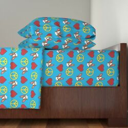 Boston Terrier Brown Red Peace Love Heart Cotton Sateen Sheet Set by Roostery
