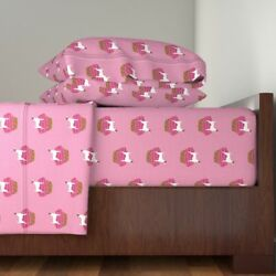 Jack Russell Terrier Terriers Dog Dogs Pink Cotton Sateen Sheet Set by Roostery