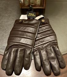 Gent's Quilted Leather And Wool Texting Gloves Size Large Brown New
