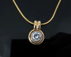 Old Stock 0.91ct H/si2 Diamond And 14k Yellow Gold Bezel Slide Pendant Necklace