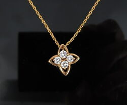 Old Stock 0.52ct Fg/vs Diamond And 14k Yellow Gold Star Flower Necklace
