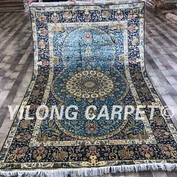 Yilong 5'x8' Blue Handmade Silk Carpets Hand knotted Traditional Area Rug S152A