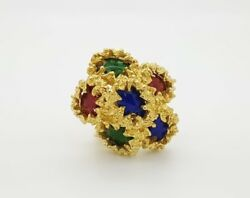 Vintage Rare 18k Yellow Gold Red / Green / Blue Enameled Ladies Cocktail Ring