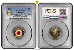 2018 Australia Remembrance Day Red Poppy 2 Coin Pcgs Graded Low Mintage Of 30k