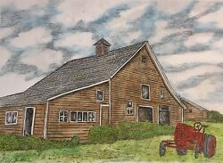 Barn With Tractor - Small Art Reproduction Artist Ink Realism Architecture