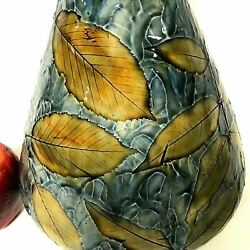Circa 1900 Royal Doulton Vase With Leaves Cherry Branch Decoration Artist Signed