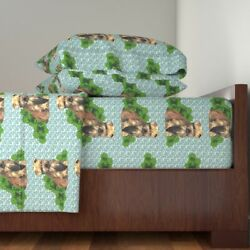 Terriers Cairn Terrier Aqua Floral Leaves Cotton Sateen Sheet Set by Roostery