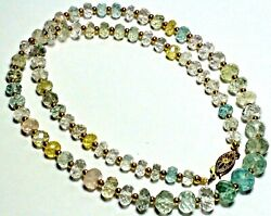 109.45 CT 100% NATURAL HIGH QUALITY FACETED AQUAMARINE 14K GOLD CLASP NECKLACE.