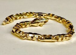 14k Solid Yellow Gold Mens Anchor Mariner Link Chain Bracelet 6 Mm 32 Grams 9.5