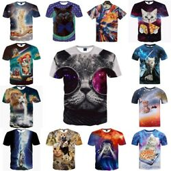 3D Print Cats T-shirt Meow Star Hip Hop Cartoon Summer Tops Tees Fashion Shirts
