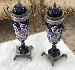 Pair Of Vases Vintage Style Gilt Bronze Cobalt Hand Paint Floral Italian Signed