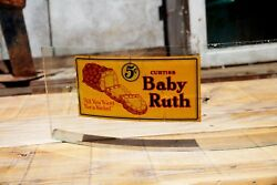Rare Vintage Antique Baby Ruth Candy Reverse Decal Glass Advertising